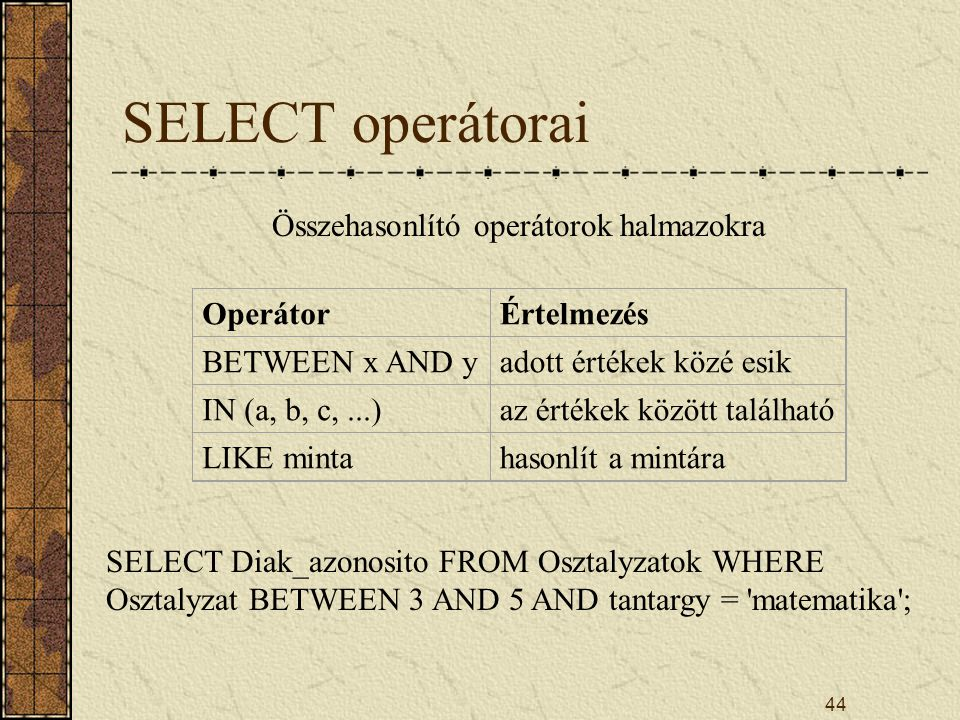 Összehasonlító operátorok halmazokra