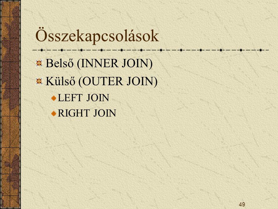 Összekapcsolások Belső (INNER JOIN) Külső (OUTER JOIN) LEFT JOIN