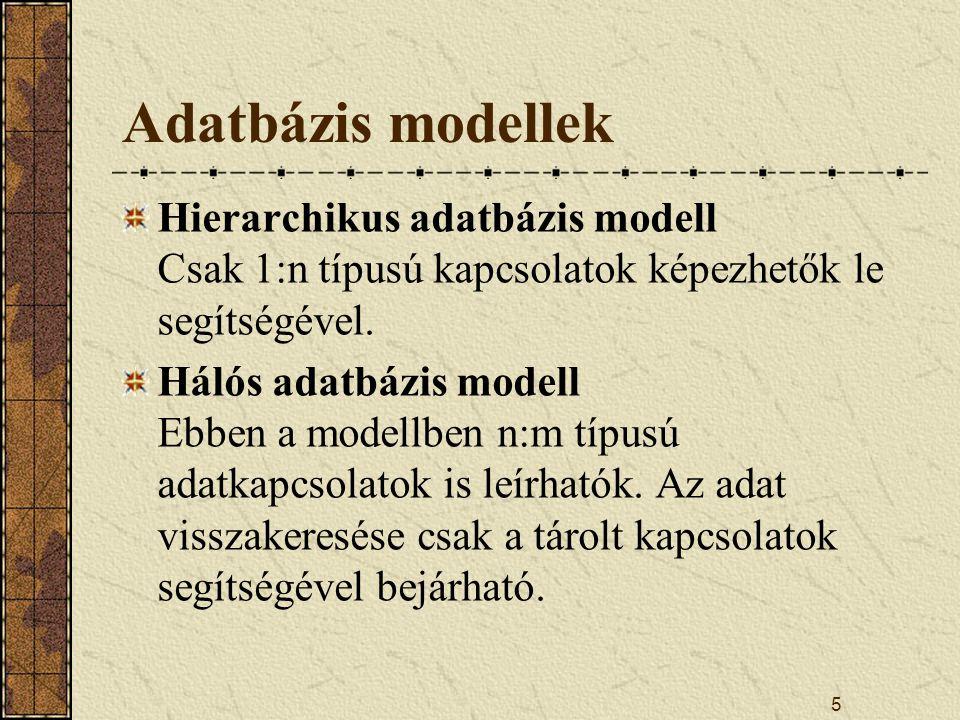 Adatbázis modellek Hierarchikus adatbázis modell Csak 1:n típusú kapcsolatok képezhetők le segítségével.