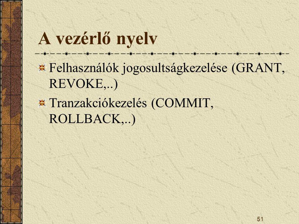 A vezérlő nyelv Felhasználók jogosultságkezelése (GRANT, REVOKE,..)