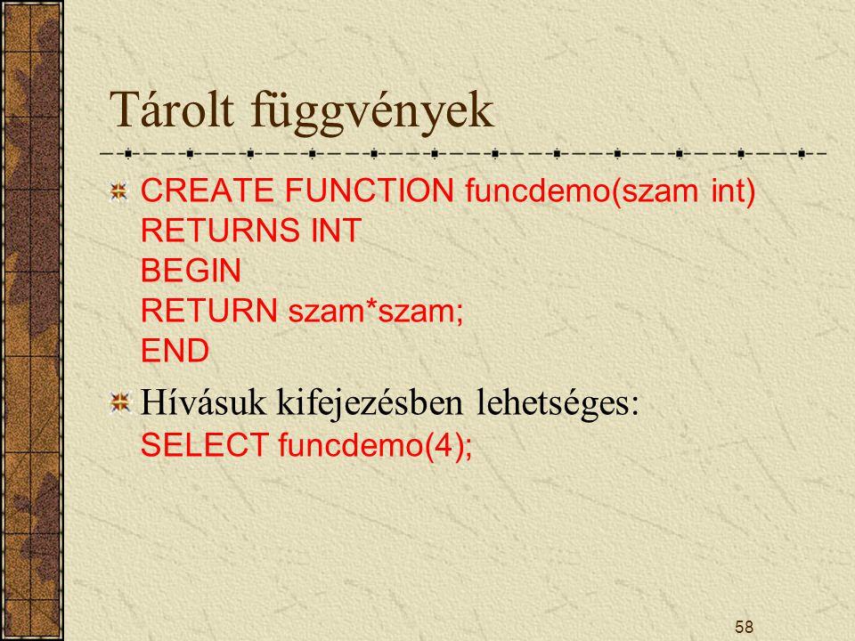 Tárolt függvények Hívásuk kifejezésben lehetséges: SELECT funcdemo(4);