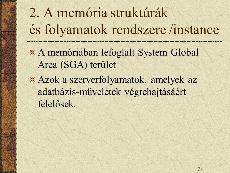 2. A memória struktúrák és folyamatok rendszere /instance