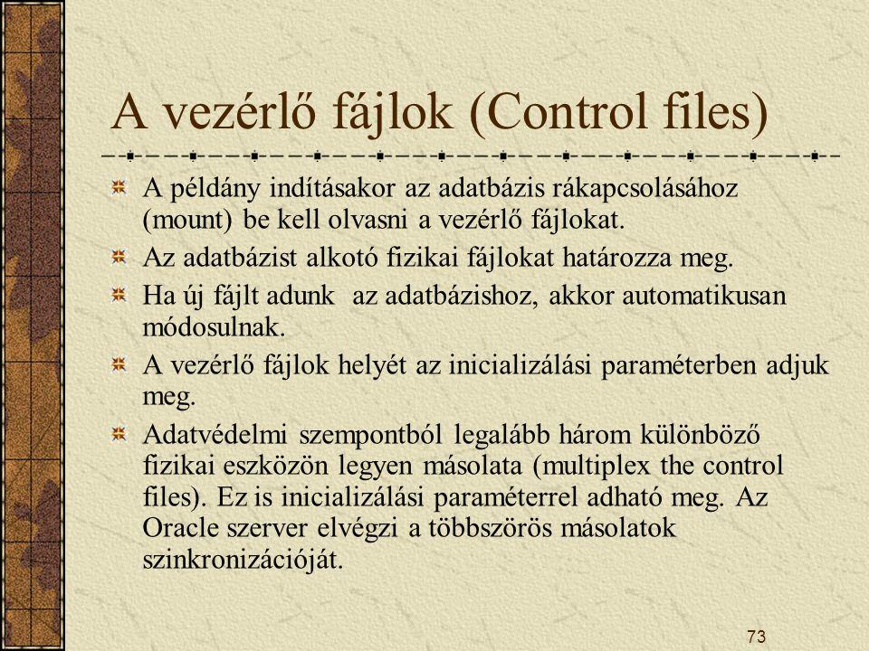 A vezérlő fájlok (Control files)
