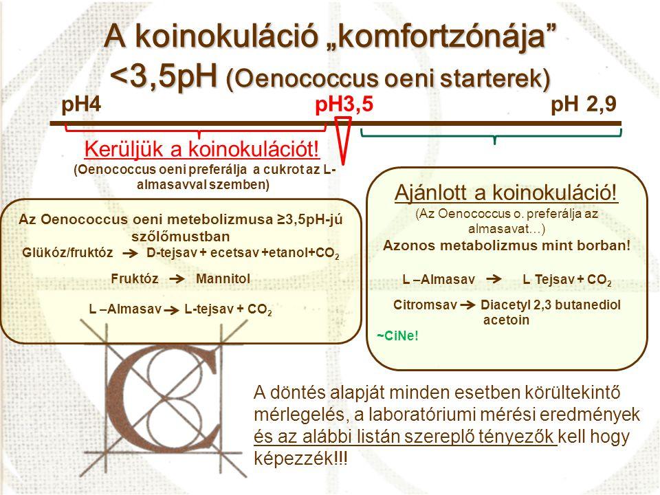 """A koinokuláció """"komfortzónája <3,5pH (Oenococcus oeni starterek)"""