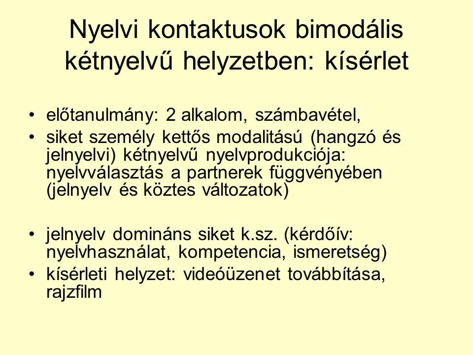 Nyelvi kontaktusok bimodális kétnyelvű helyzetben: kísérlet