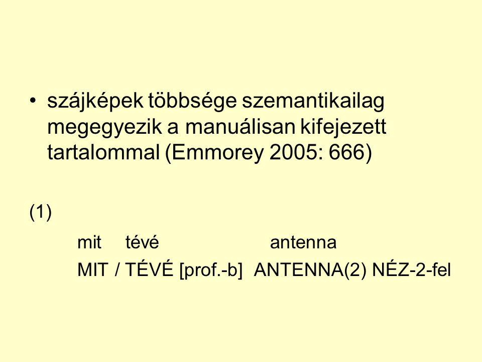 szájképek többsége szemantikailag megegyezik a manuálisan kifejezett tartalommal (Emmorey 2005: 666)