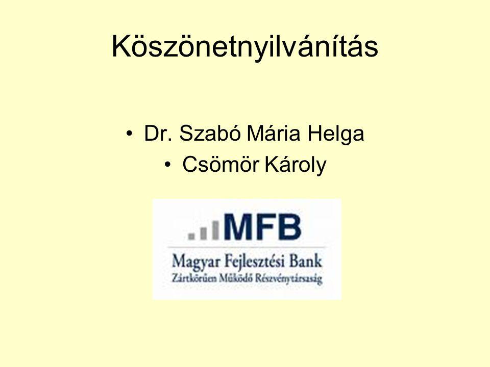 Köszönetnyilvánítás Dr. Szabó Mária Helga Csömör Károly