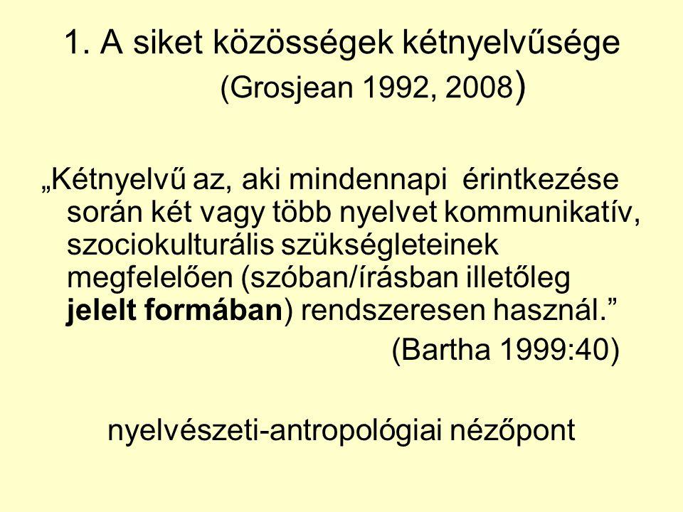 1. A siket közösségek kétnyelvűsége (Grosjean 1992, 2008)