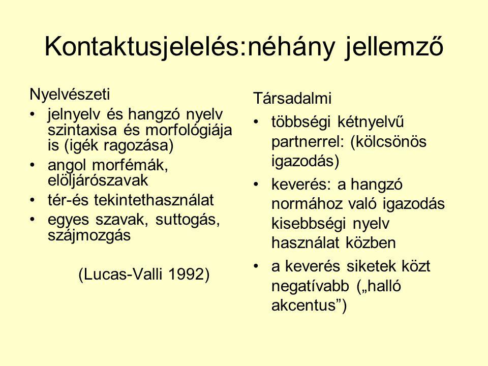 Kontaktusjelelés:néhány jellemző