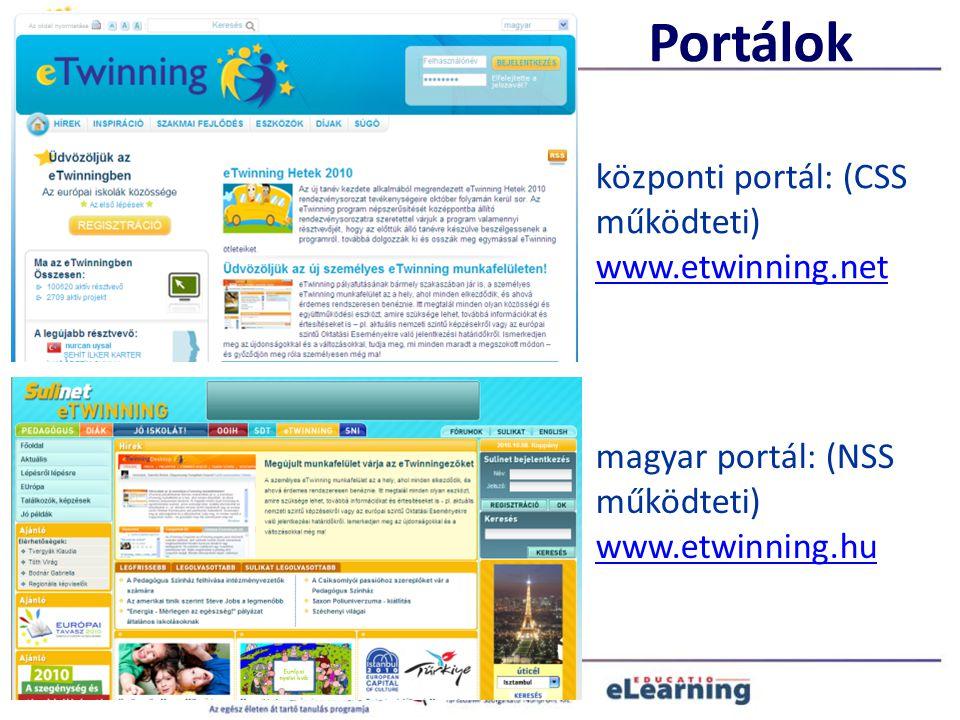 Portálok központi portál: (CSS működteti) www.etwinning.net