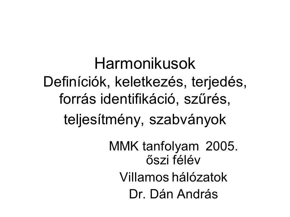 MMK tanfolyam 2005. őszi félév Villamos hálózatok Dr. Dán András
