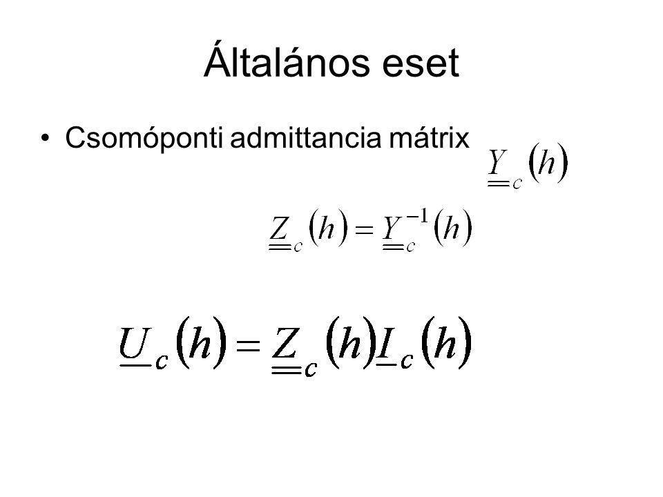 Általános eset Csomóponti admittancia mátrix