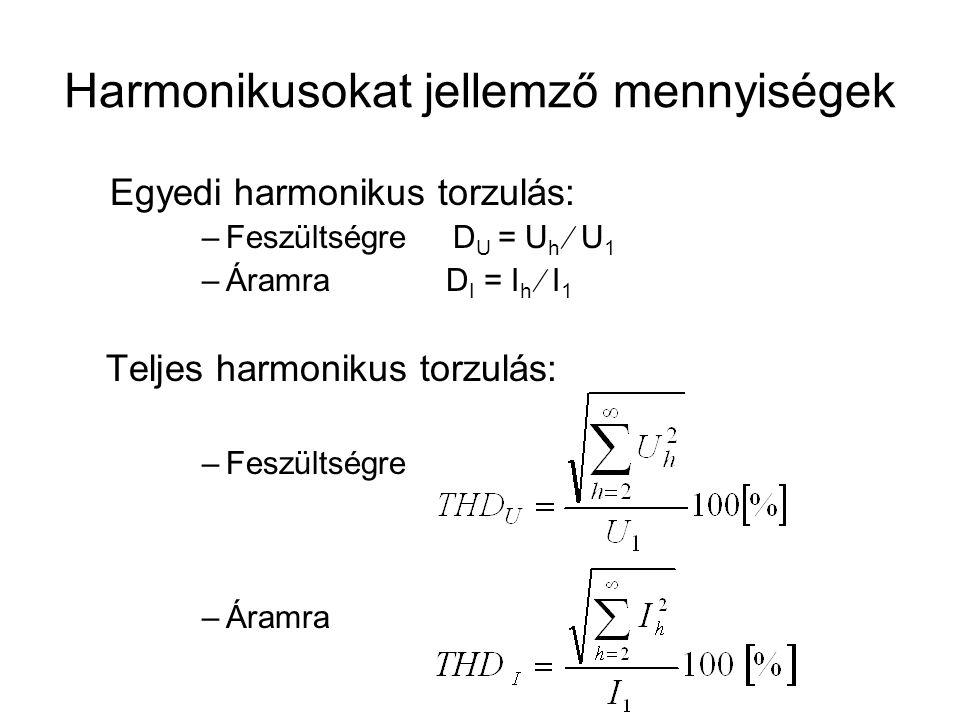 Harmonikusokat jellemző mennyiségek