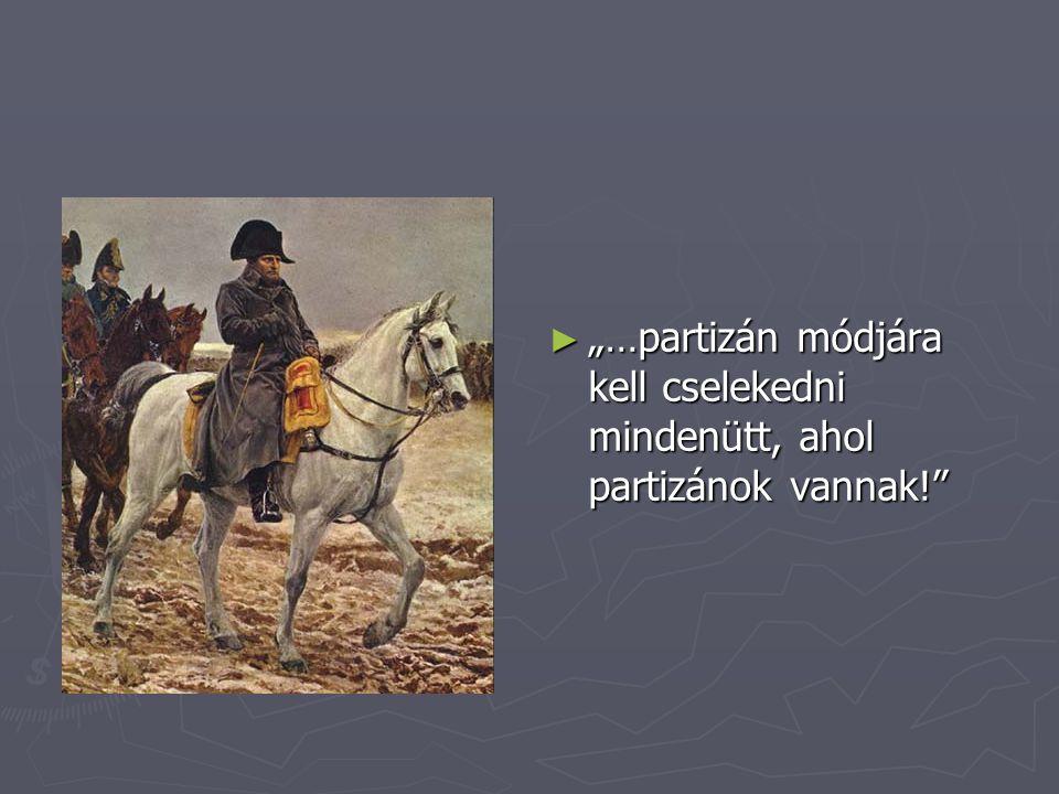 """""""…partizán módjára kell cselekedni mindenütt, ahol partizánok vannak!"""