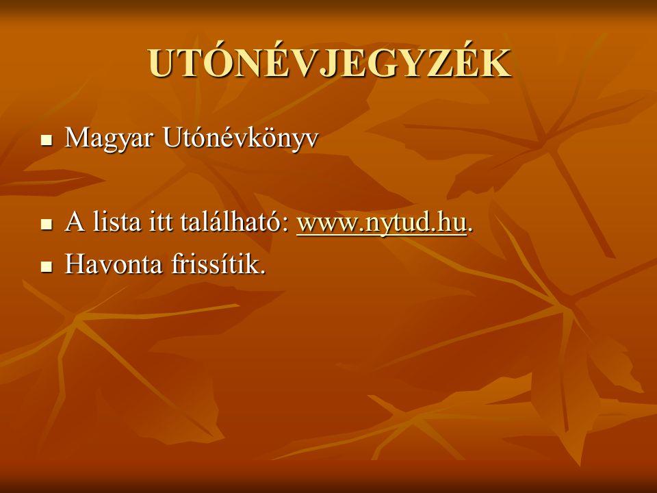 UTÓNÉVJEGYZÉK Magyar Utónévkönyv A lista itt található: www.nytud.hu.