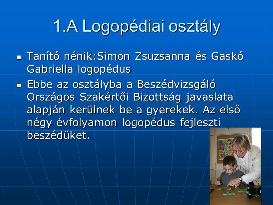 1.A Logopédiai osztály Tanító nénik:Simon Zsuzsanna és Gaskó Gabriella logopédus.