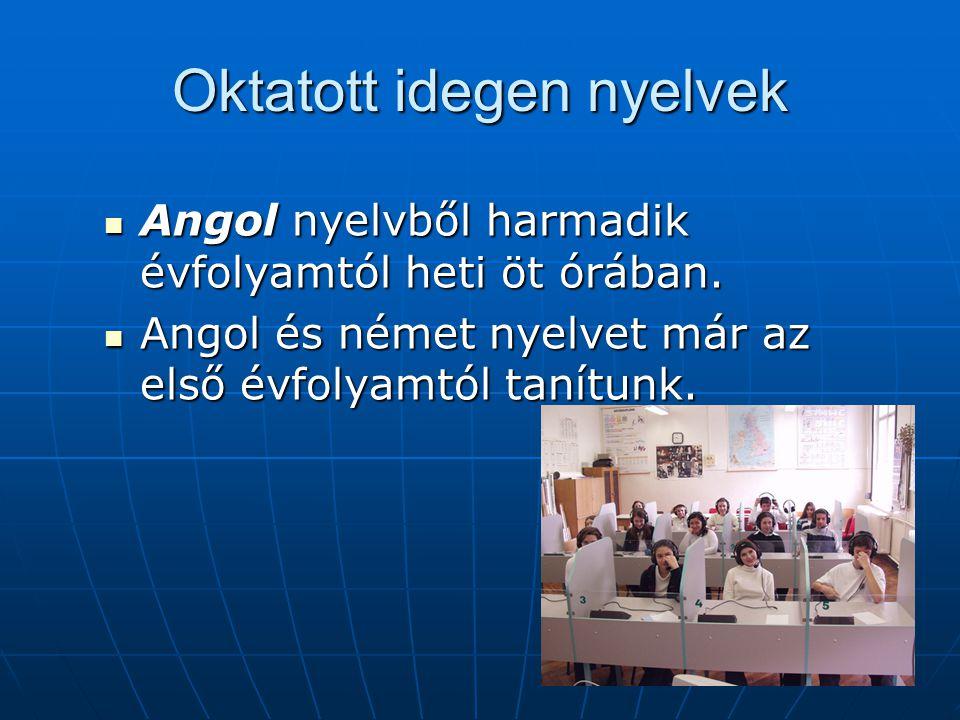 Oktatott idegen nyelvek