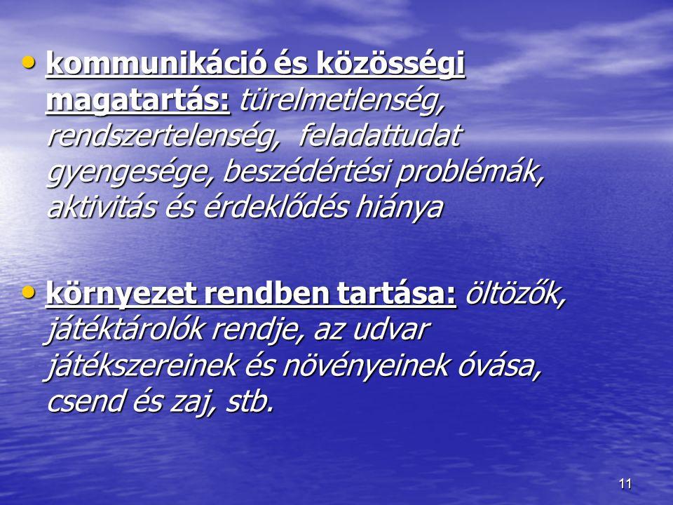 kommunikáció és közösségi magatartás: türelmetlenség, rendszertelenség, feladattudat gyengesége, beszédértési problémák, aktivitás és érdeklődés hiánya