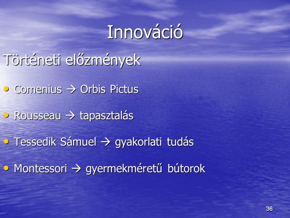 Innováció Történeti előzmények Comenius  Orbis Pictus