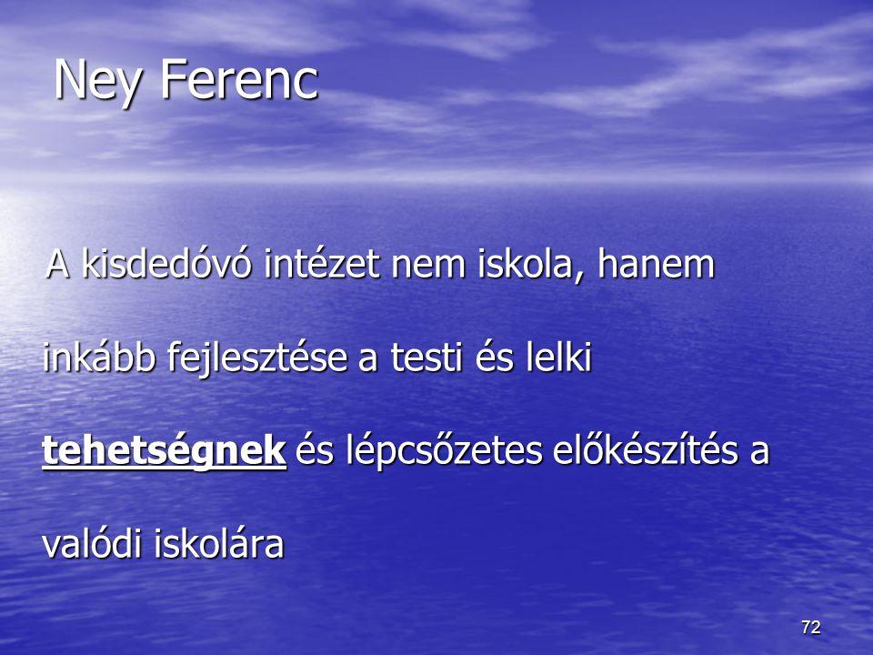 Ney Ferenc A kisdedóvó intézet nem iskola, hanem inkább fejlesztése a testi és lelki tehetségnek és lépcsőzetes előkészítés a valódi iskolára.