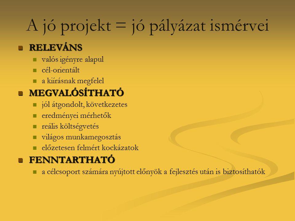A jó projekt = jó pályázat ismérvei