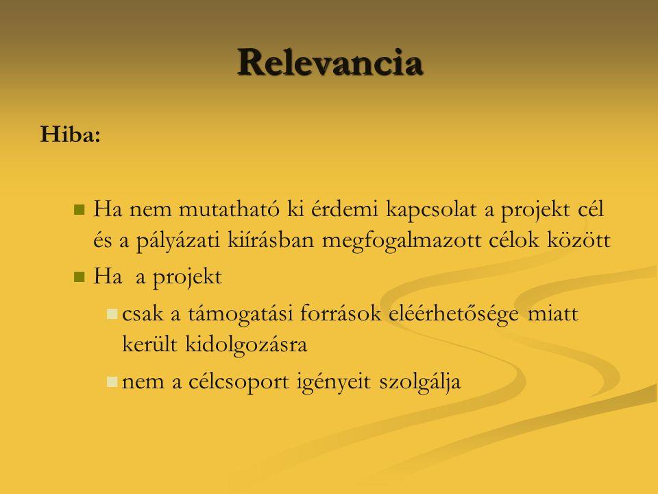 Relevancia Hiba: Ha nem mutatható ki érdemi kapcsolat a projekt cél és a pályázati kiírásban megfogalmazott célok között.