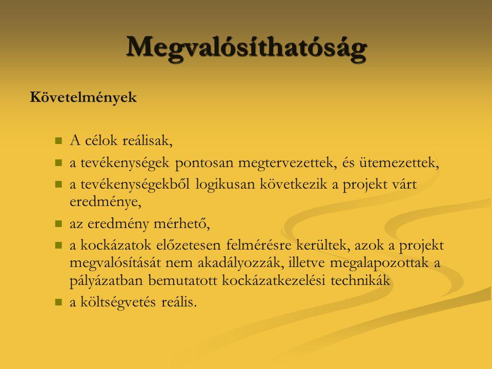 Megvalósíthatóság Követelmények A célok reálisak,