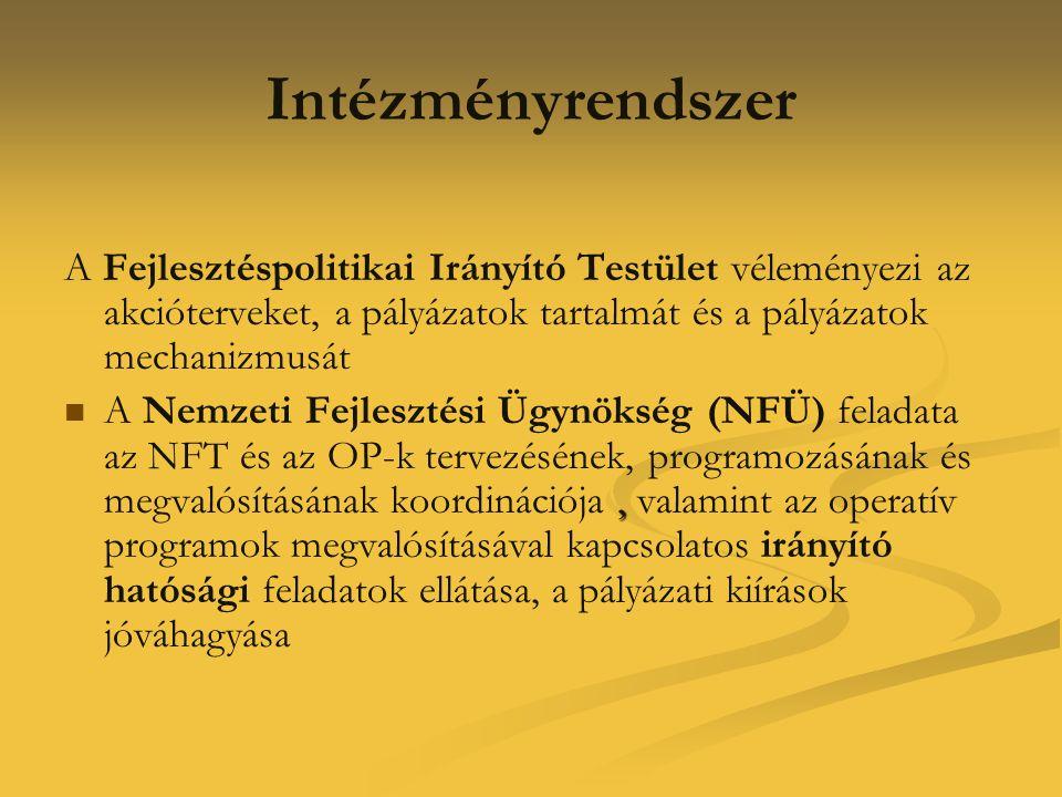 Intézményrendszer A Fejlesztéspolitikai Irányító Testület véleményezi az akcióterveket, a pályázatok tartalmát és a pályázatok mechanizmusát.