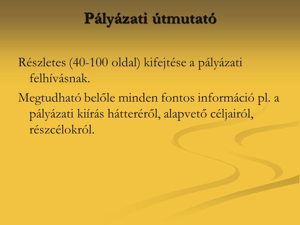 Pályázati útmutató Részletes (40-100 oldal) kifejtése a pályázati felhívásnak.