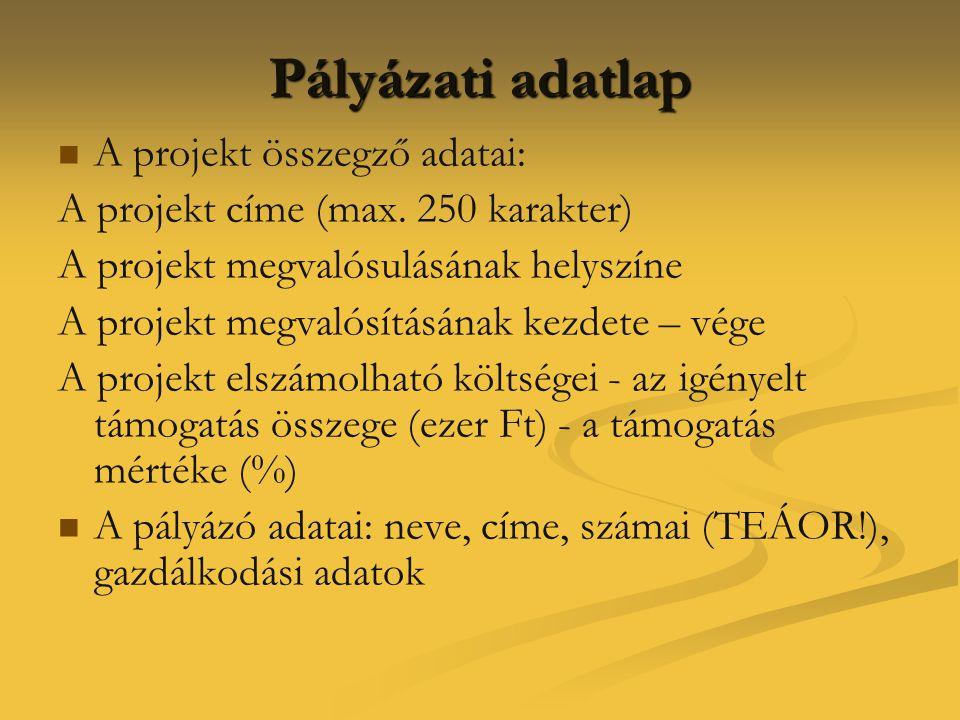 Pályázati adatlap A projekt összegző adatai: