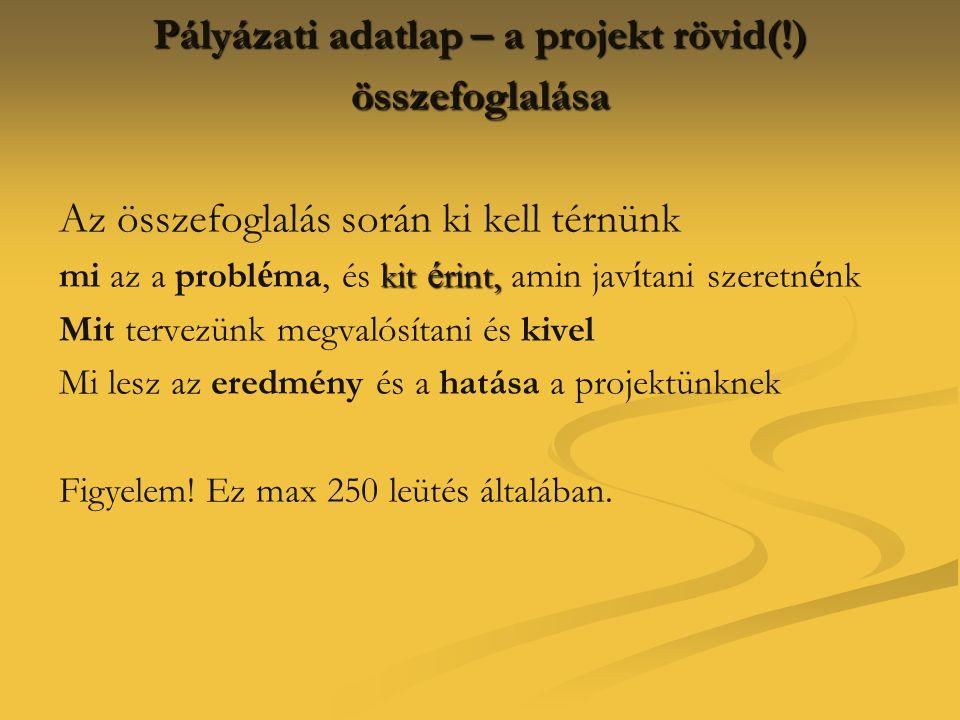 Pályázati adatlap – a projekt rövid(!) összefoglalása