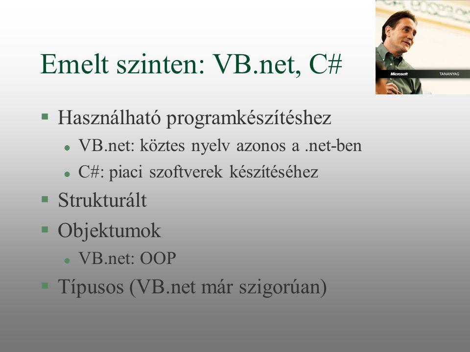 Emelt szinten: VB.net, C#