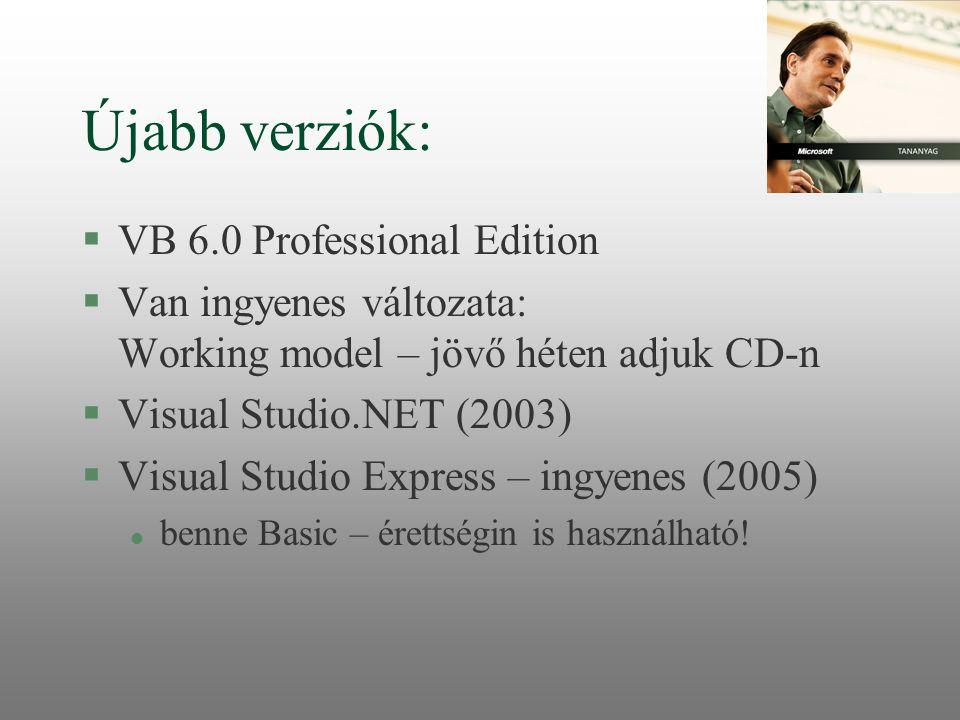 Újabb verziók: VB 6.0 Professional Edition
