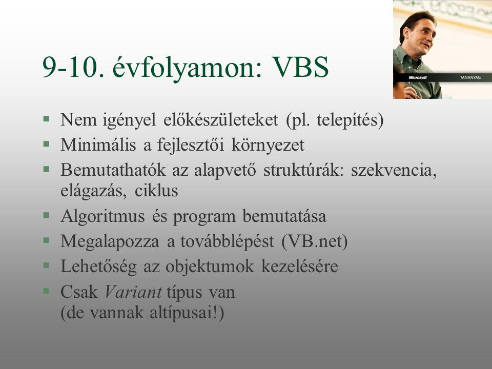 9-10. évfolyamon: VBS Nem igényel előkészületeket (pl. telepítés)