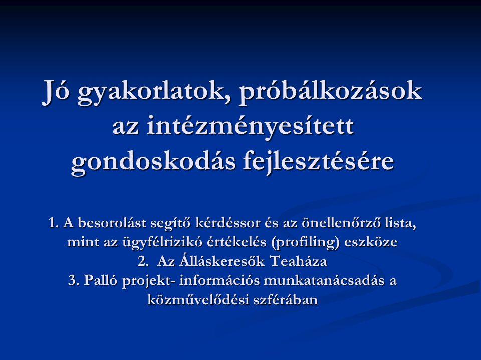 Jó gyakorlatok, próbálkozások az intézményesített gondoskodás fejlesztésére 1.