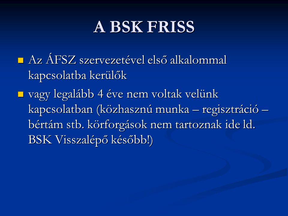 A BSK FRISS Az ÁFSZ szervezetével első alkalommal kapcsolatba kerülők