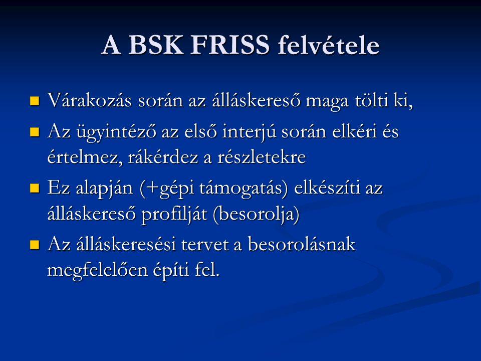 A BSK FRISS felvétele Várakozás során az álláskereső maga tölti ki,
