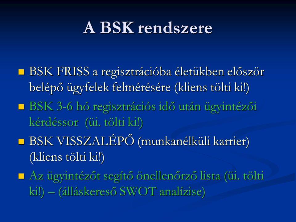 A BSK rendszere BSK FRISS a regisztrációba életükben először belépő ügyfelek felmérésére (kliens tölti ki!)