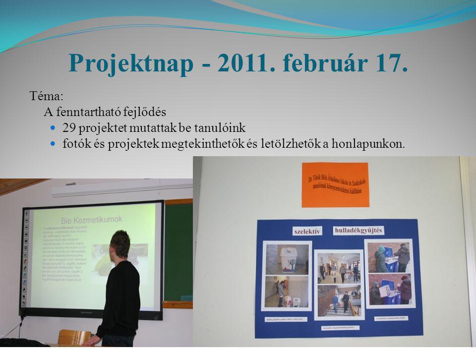 Projektnap - 2011. február 17. Téma: A fenntartható fejlődés