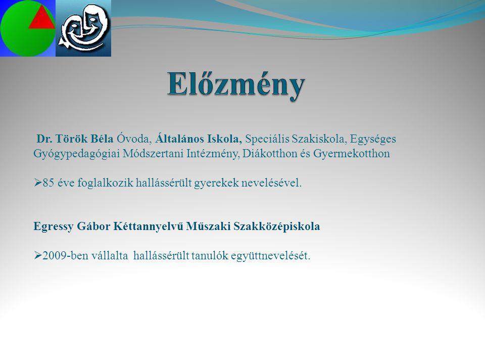 Előzmény Dr. Török Béla Óvoda, Általános Iskola, Speciális Szakiskola, Egységes Gyógypedagógiai Módszertani Intézmény, Diákotthon és Gyermekotthon.
