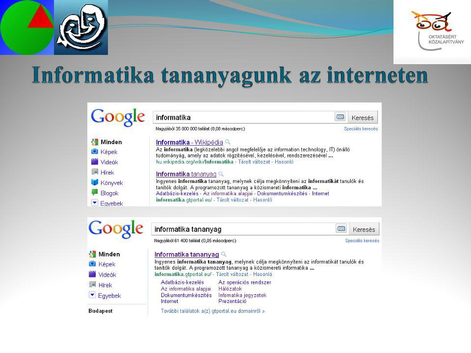 Informatika tananyagunk az interneten