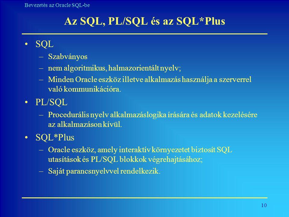 Az SQL, PL/SQL és az SQL*Plus