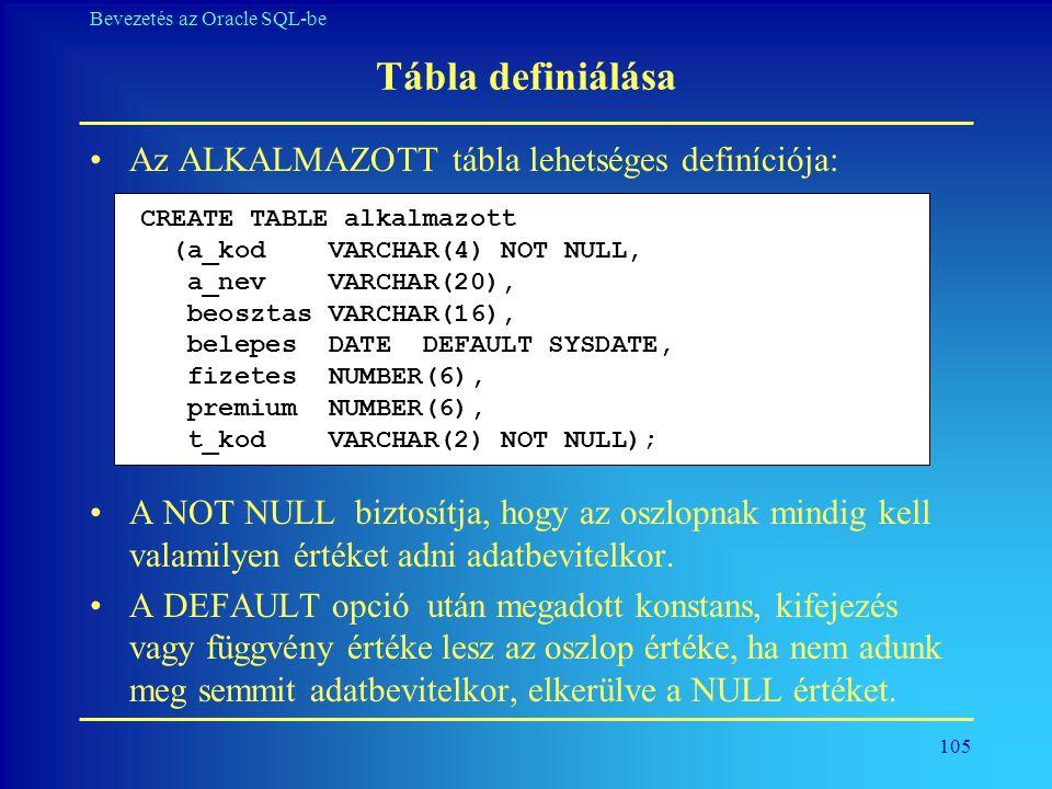 Tábla definiálása Az ALKALMAZOTT tábla lehetséges definíciója: