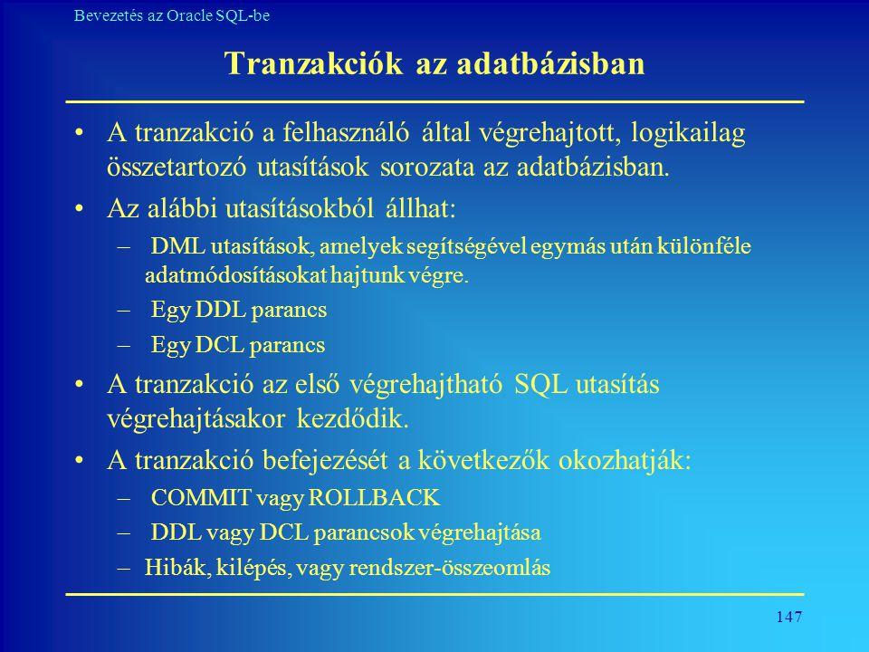 Tranzakciók az adatbázisban