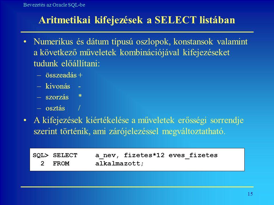Aritmetikai kifejezések a SELECT listában