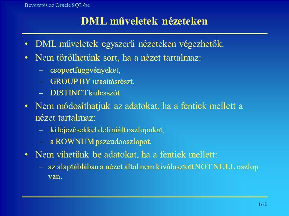 DML műveletek nézeteken