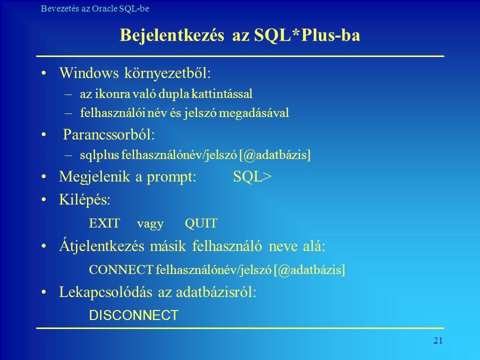 Bejelentkezés az SQL*Plus-ba