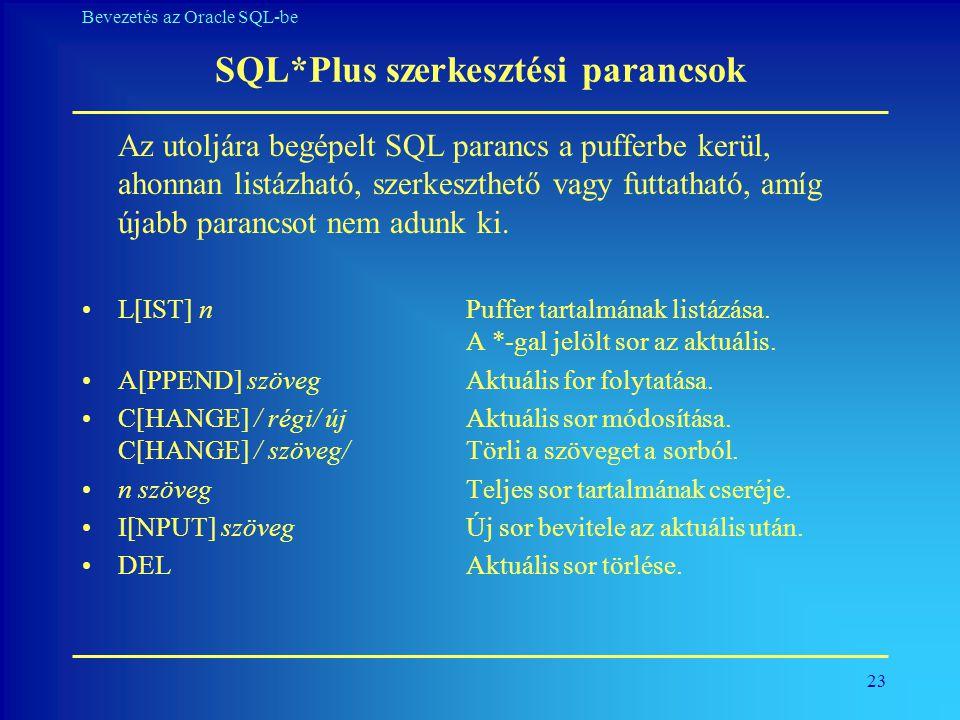 SQL*Plus szerkesztési parancsok