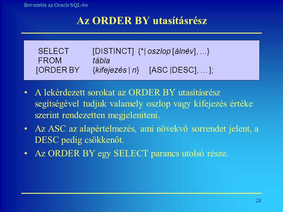 Az ORDER BY utasításrész
