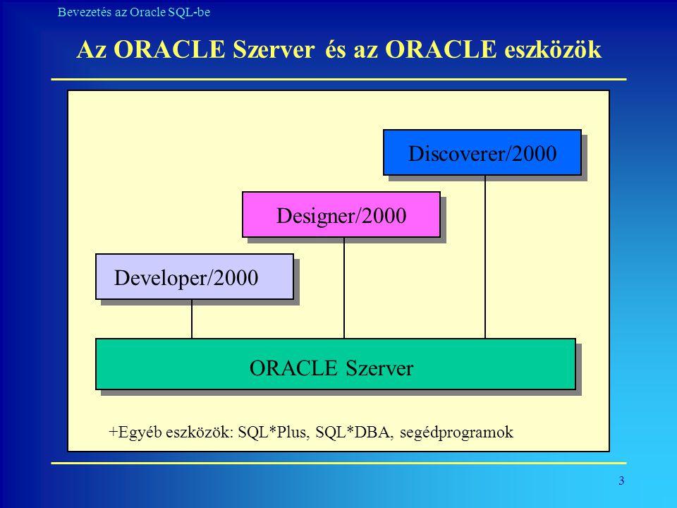 Az ORACLE Szerver és az ORACLE eszközök